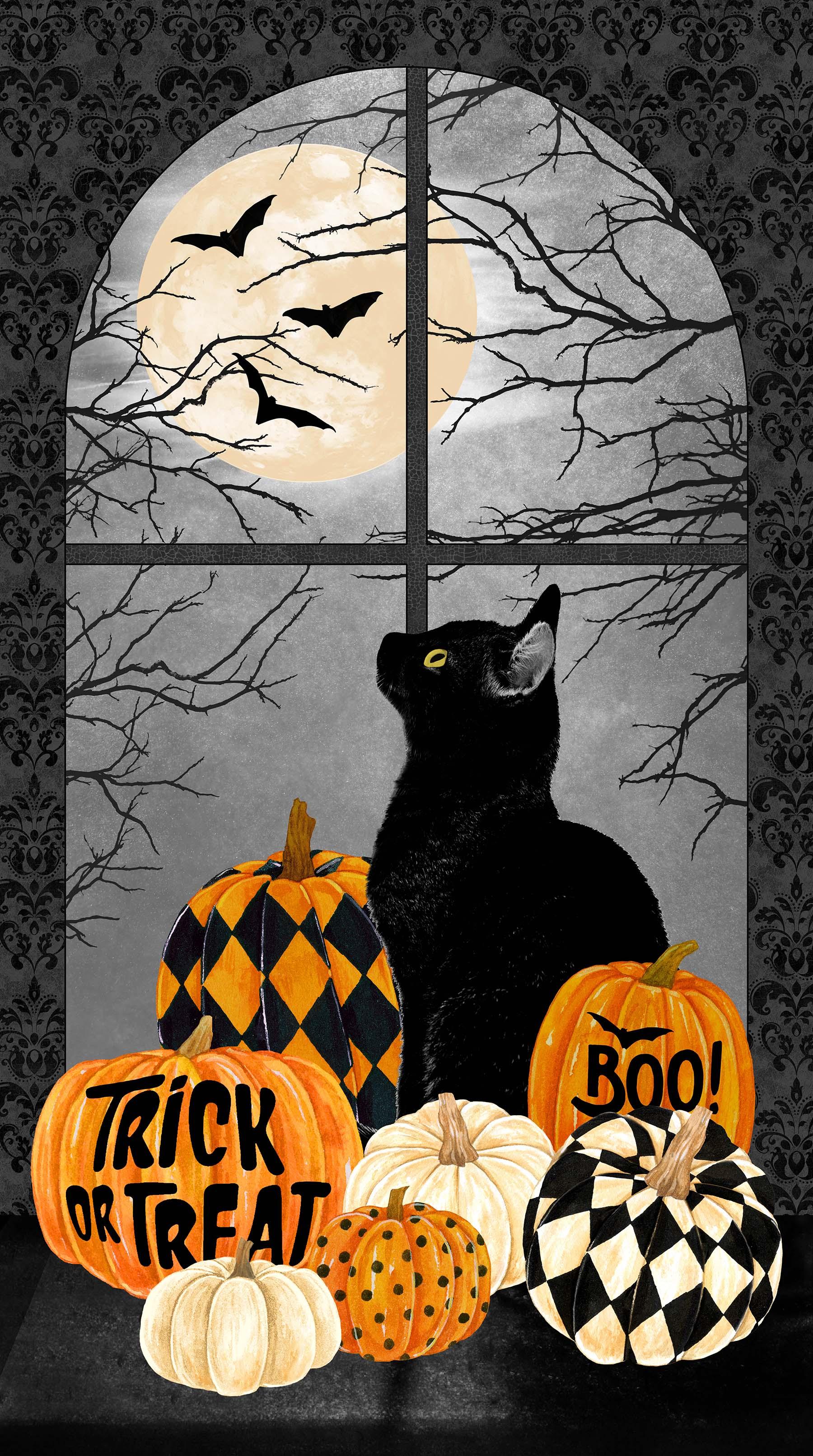 BLACK CAT CAPERS PANEL BLACK MULTI