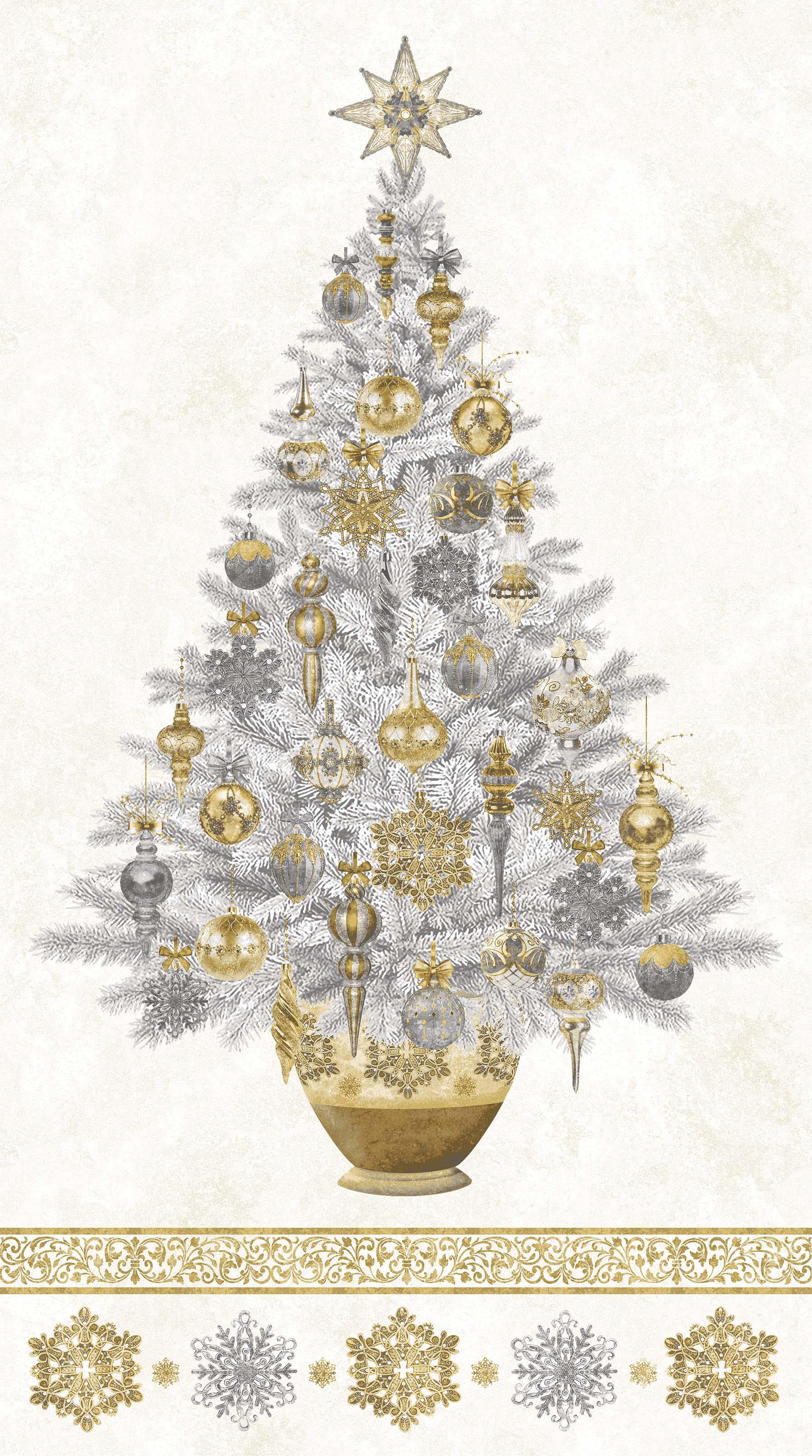 STONEHENGE WHITE CHRISTMAS - Tree Panel | Neutral Gold