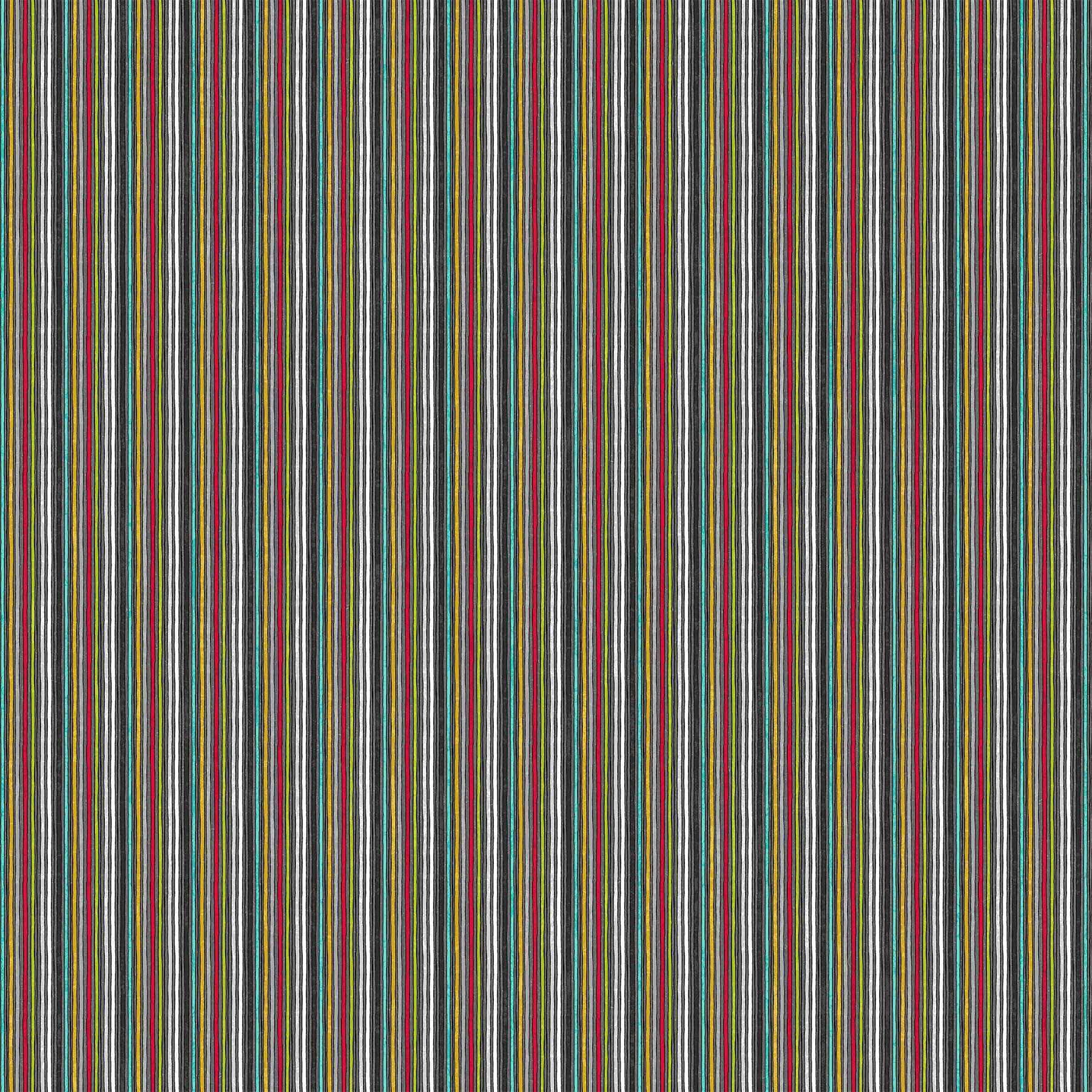24223-99 Black Multi Colorful Stripe | Sewing Is My Happy Place | by Nina Djuric for Northcott Fabrics