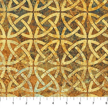 Stonehenge Solstice Celtic Knot rust gold Northcott 39429-56