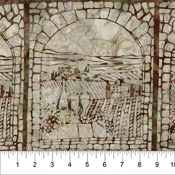 Vineyard Window Rose Green on Stone:  Vino - Banyan Batiks by Northcott