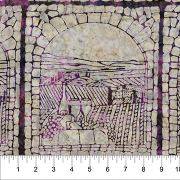 Vineyard Window Purple on Stone:  Vino - Banyan Batiks by Northcott