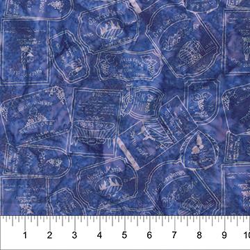 White Lettering Wine Labels on Blue: Vino - Banyan Batiks by Northcott