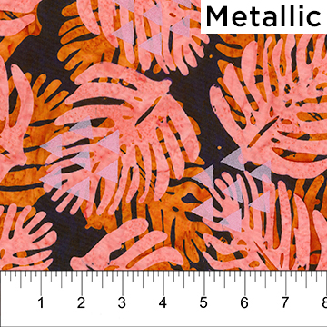 Orange and Coral Pink Leaves on Dark background with Pearlized Triangles:  Tapa Cloth - Banyan Batiks by Northcott
