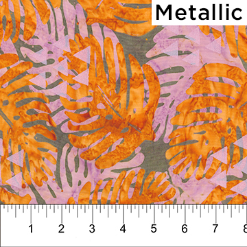 Orange and Pink Leaves on Olive Green with Pearlized Triangles:  Tapa Cloth - Banyan Batiks by Northcott