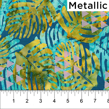 Yellow and Aqua Leaves on Turquoise Blue with Pink Pearlized Triangles:  Tapa Cloth - Banyan Batiks by Northcott