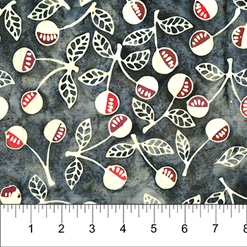 White Cherry Springs on Black - Banyan Batiks by Northcott
