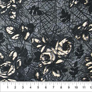 Banyan Batik Rough Sketch Roses - Charcoal (Batik)