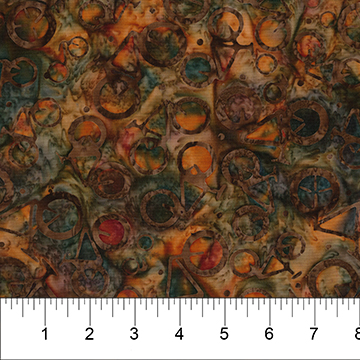 80352-38 Red Rust Tossed Bicycles Ride On II Banyan Batiks