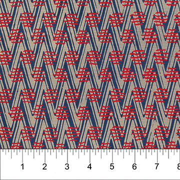 Blue Chevrons with Red Lines:  At the Pier - Banyan Batiks by Northcott