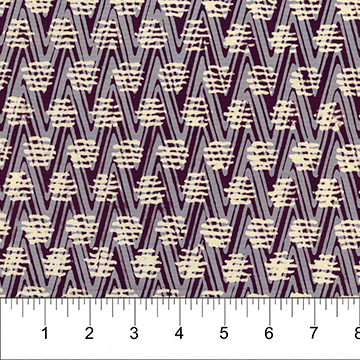Plum Chevrons with Beige Lines:  At the Pier - Banyan Batiks by Northcott