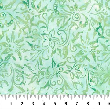 80443-65 Lt Teal Green Vines Cubism Peachy Pine Banyan Batiks Northcott