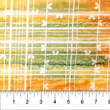 81231-58 Plaid Cotton Batik Orange/Green