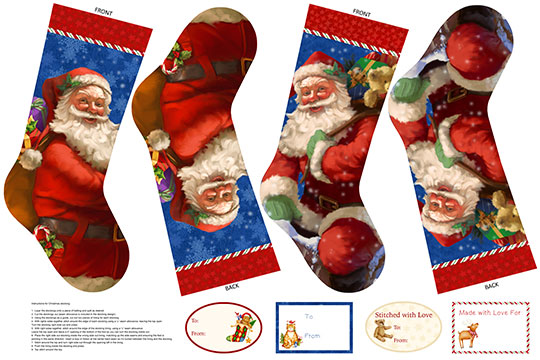 Santa Claus is Coming to Town - 2 Stockings  & 4 Gift Tags