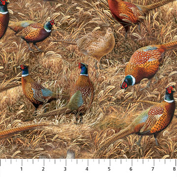 Northcott DP22703-14 allover Pheasant print