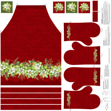 Deck The Halls Apron & Potholder Panel