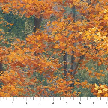 Fall Trees Fabric - Rust On Golden Pond Collection by Northcott