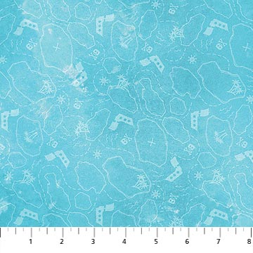 Pirate Hidden Treasure Map on Turquoise:  Shiver Me Whiskers by Tracy Ann Herrmann for Northcott