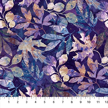 DP23741 88 DARK PURPLE Multi Leaf Toss Foliage-Amethyst Northcott