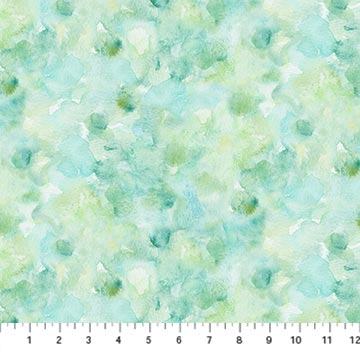 Northcott Foliage Watercolor Texture - Turquoise/Green