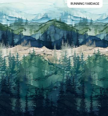 WHISPERING PINES DARK BLUE MOUNTAIN SCENE 44 WIDE