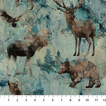 DP23752-64 Teal Multi - In the Wild - Bear, Eagle, Wolf, Moose, Elk Print | Whispering Pines | by Melanie Samra for Northcott Fabrics