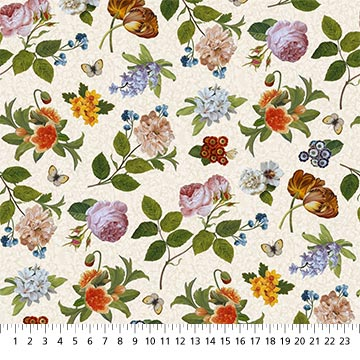 Fabric-Northcott Covent Garden Scattered Flowers on White