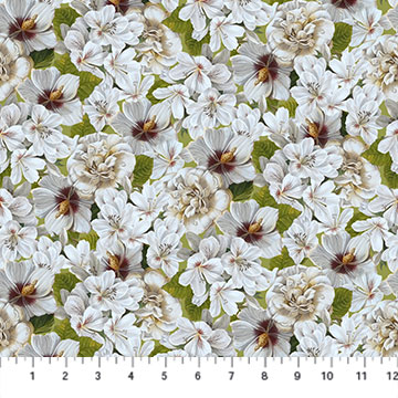 Fabric-Northcott Covent Garden White Flowers