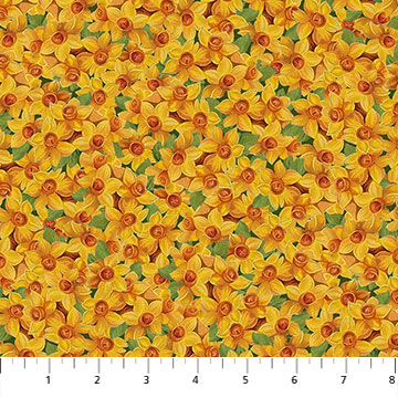 Fabric-Northcott Covent Garden Yellow Flowers
