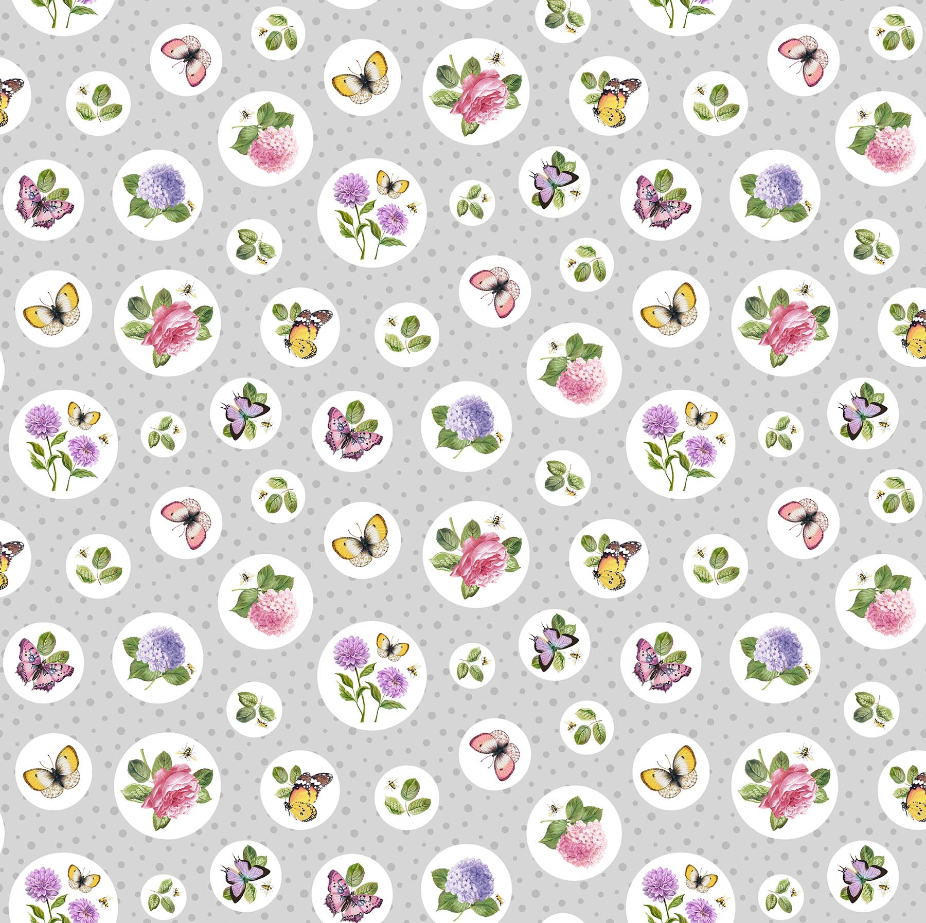 SCENTED GARDEN Gry Floral Polka