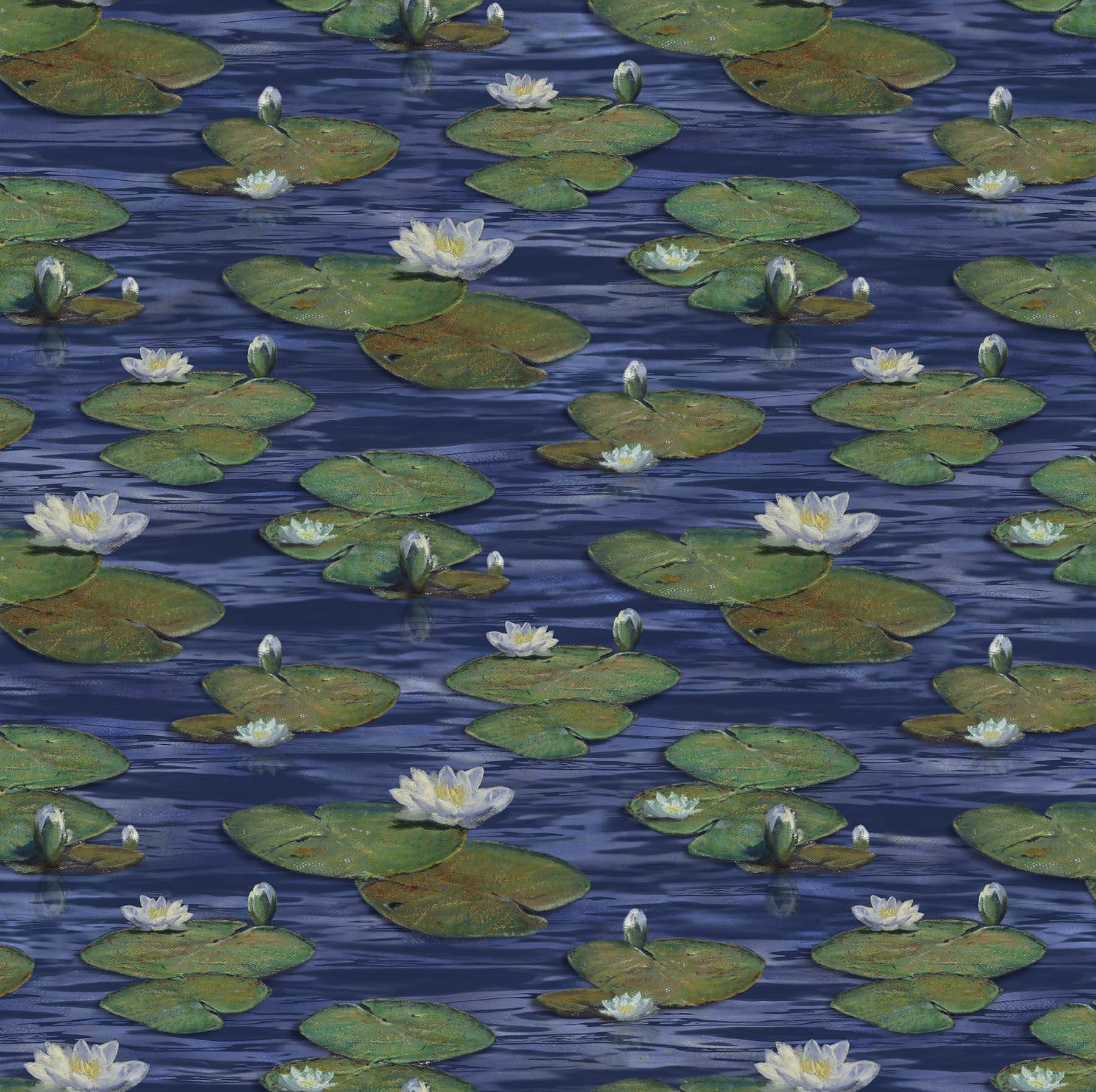 The Great Blue - Water Lillies on Navy Multi DP24029-49