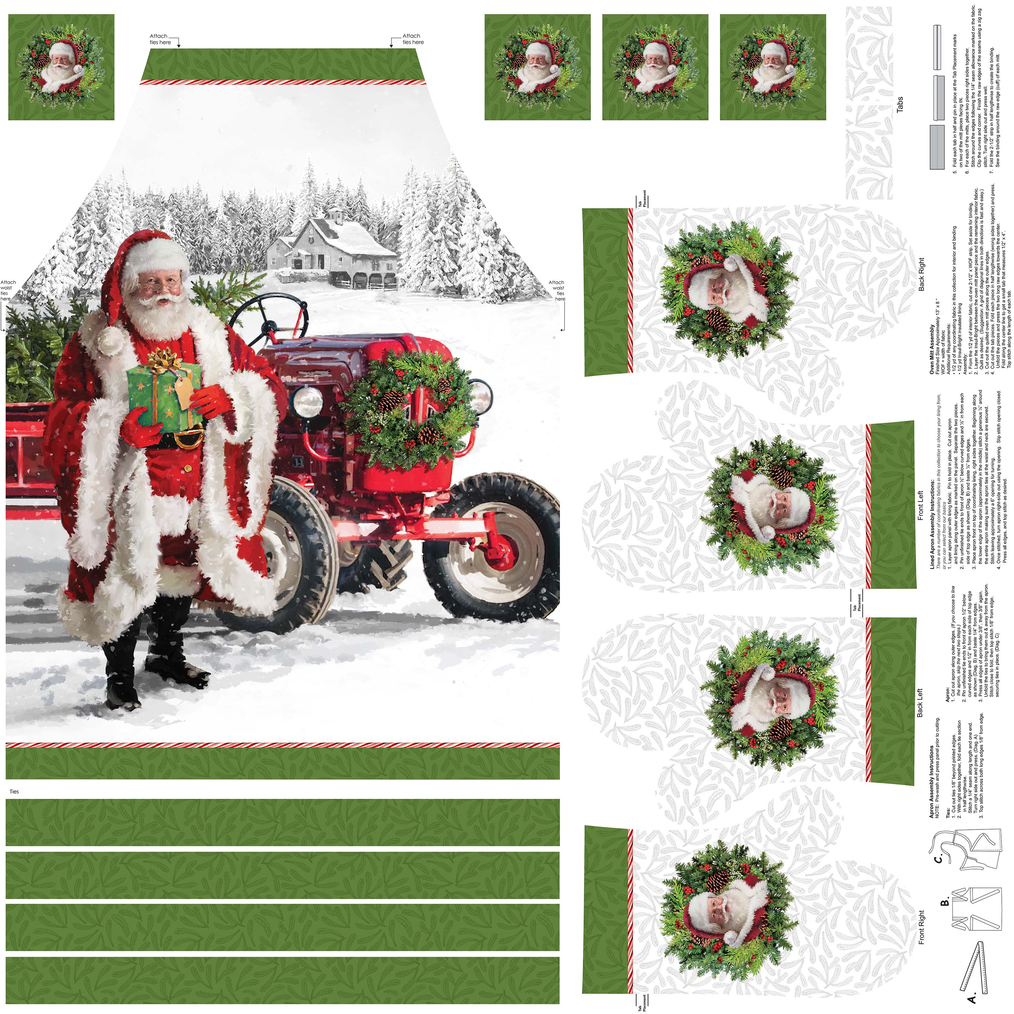 HERE COME SANTA - APRON & OVEN MITTS - DP24076 10