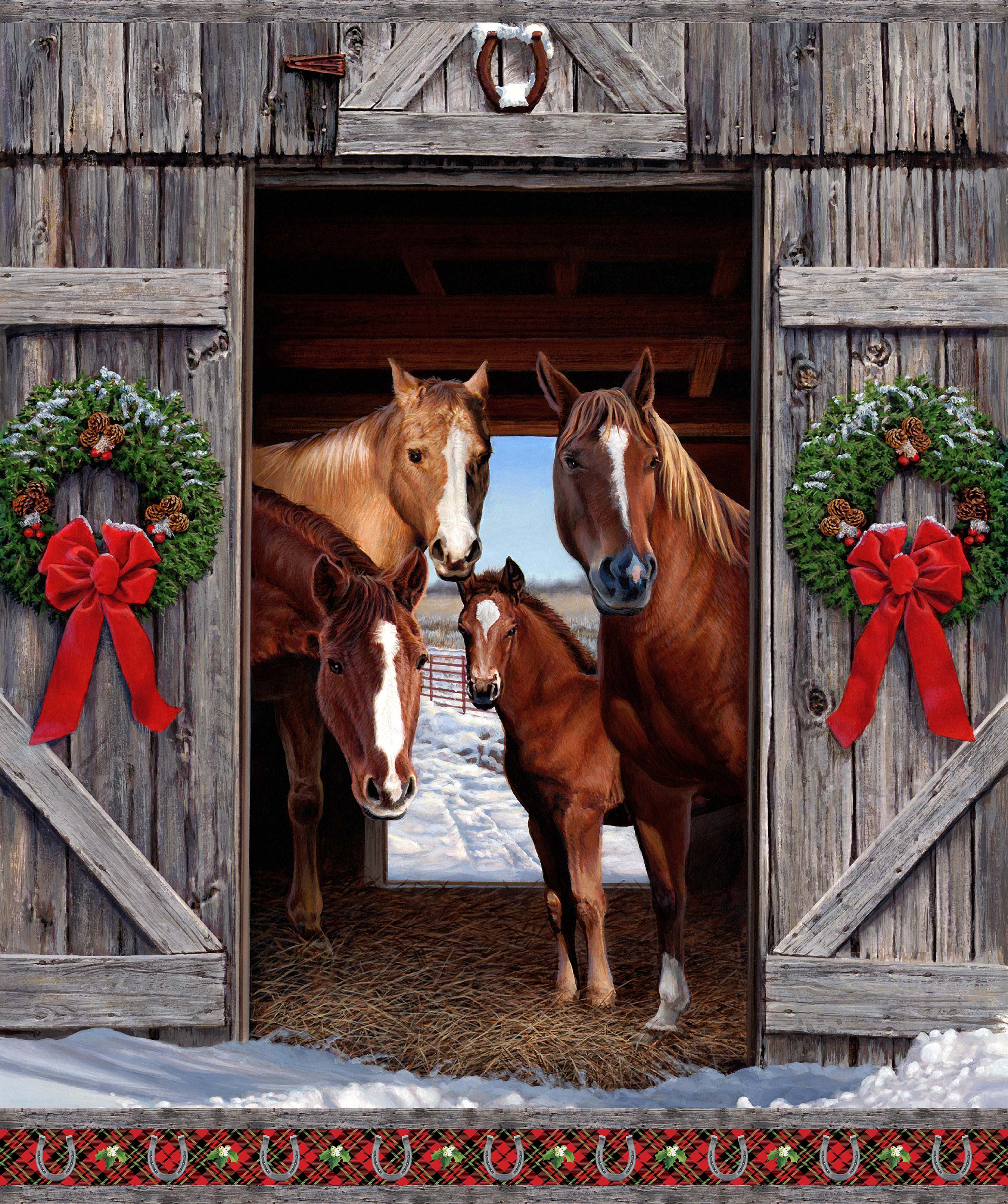 HAY...IT'S CHRISTMAS MULTI Horse Panel DP24104-99