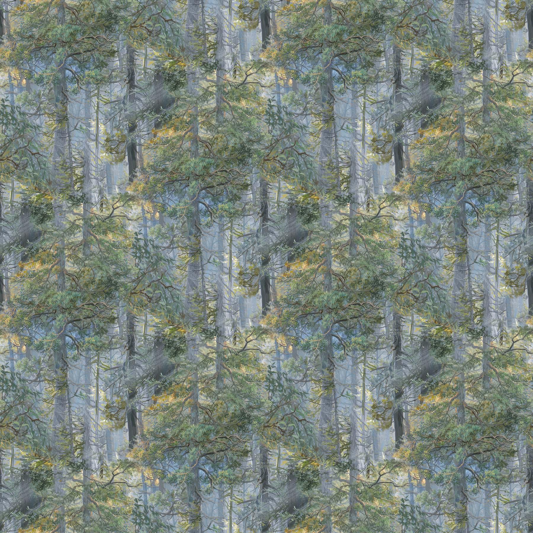 DP24225-42 MAMA BEAR BLUE MULTI TREES