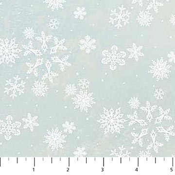 Enchanted Forest Flannel Snowflakes on Blue/Grey