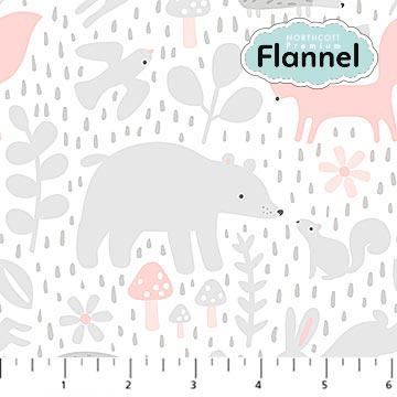 Flannel Hello Little One Animals pink