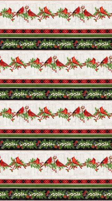 Cardinal Woods - Cream Flannel/Hollies/Cardinals