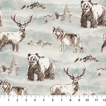 Misty Mountain-Wild Animals-Turquoise