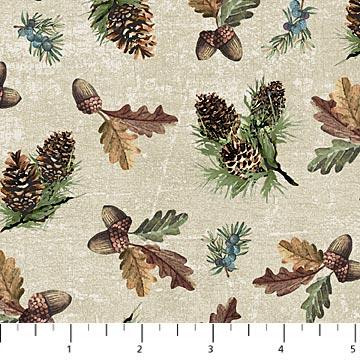Northcott Outdoor Adventure Flannel F23189-12  BEIGE MULTI Pinecone Toss