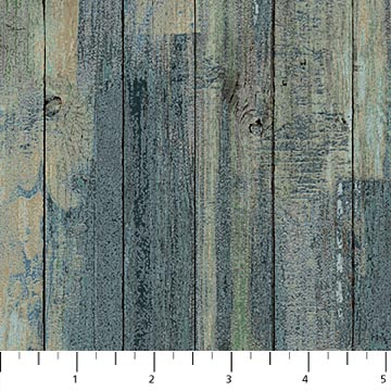 Northcott Outdoor Adventure Flannel F23192-66 TEAL Distressed Wood