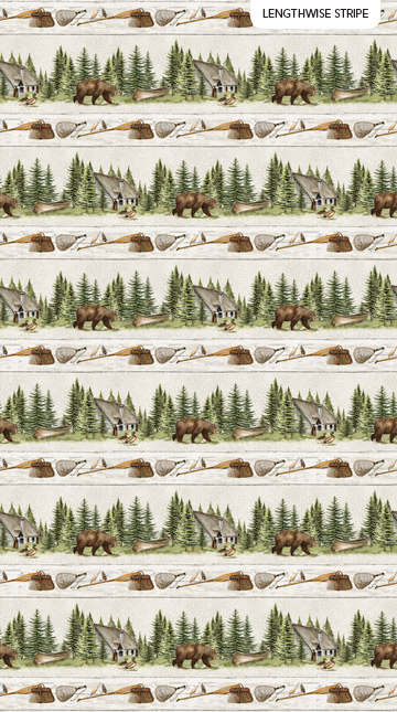 Lakeside Lodge Flannel - Pale Grey Border