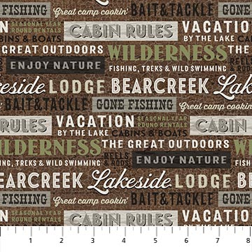 Fabric-Northcott Lakeside Lodge Flannel Words