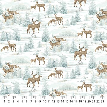 Frosted  Woodland Lt Blue Deer F23629-42