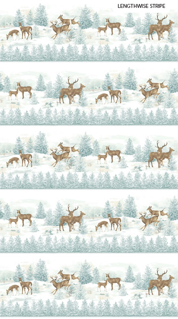 Fabric-Northcott Frosted Woodland Flannel Stripe