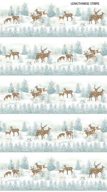 Frosted Woodland Deer Border F23630-42
