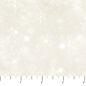 Fabric-Northcott Frosted Woodland Flannel Beige Snowflake