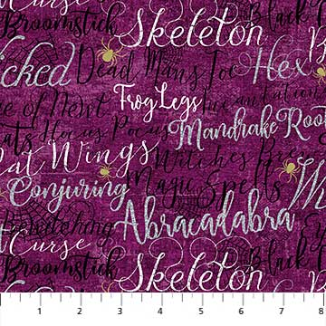 Elegantly Frightful - Purple spooky words