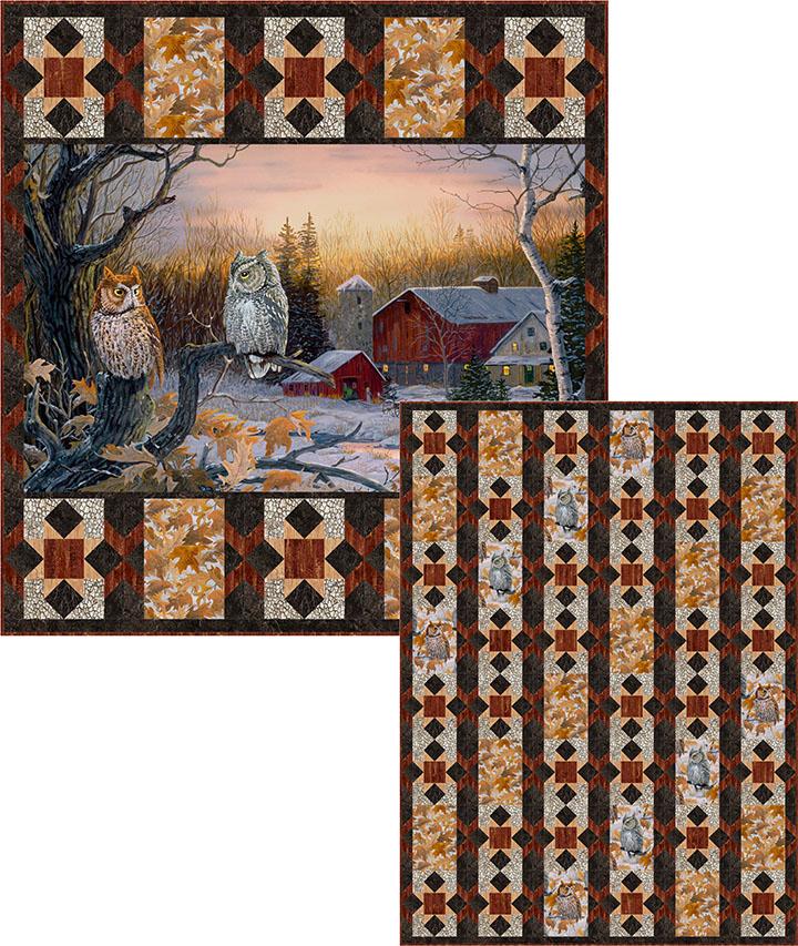 Evening Stars - Owl panel pattern