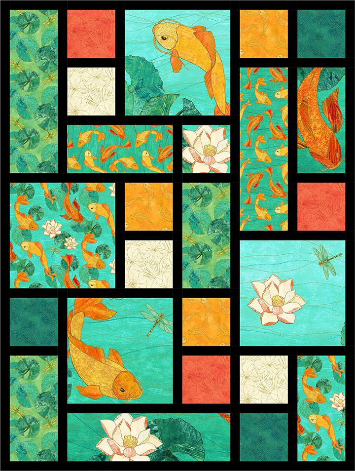 Koi Pond -Tiles Quilt Pattern