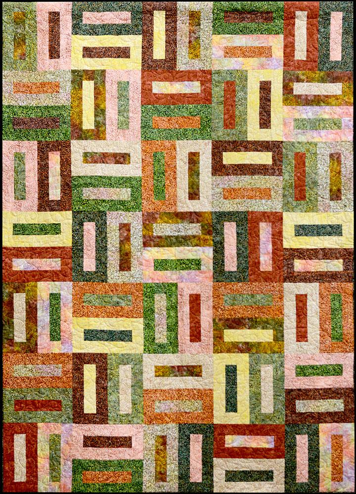 Batik Bricks PTNB0008 Quilt Pattern, Finished size 61 X 85